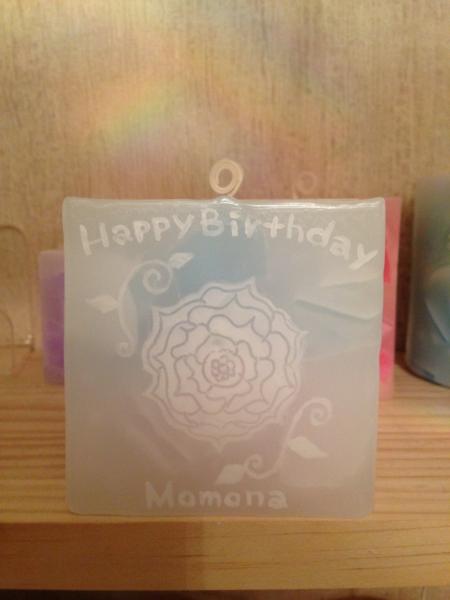 女性へのお誕生日に大人気の名前入りアロマキャンドル