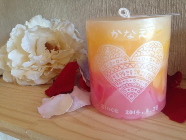 記念日のプレゼントに名前と記念日の日付の入ったアロマキャンドルを☆