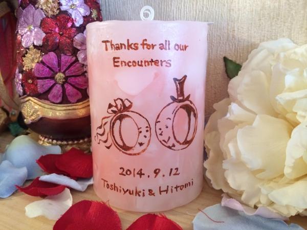 結婚式のウェルカムアイテムに★新郎新婦の名前入りオリジナルキャンドルを!