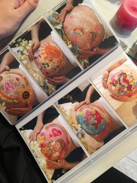 赤ちゃんデザイン♡蓮の花のカラーとグリーン系が綺麗なデザインで思い出に残るマタニティフォトを☆彡